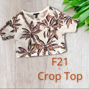 FOREVER 21• Crop Top• Pink Palm Trees• NWOT!!!
